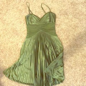 Satin/pleated green cocktail dress
